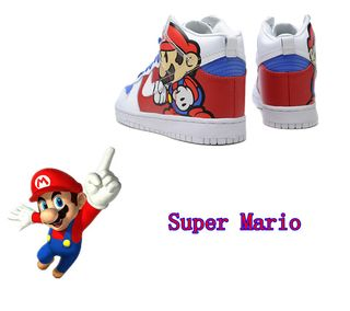 59c5a026bceb Clearly and lovely style design nike dunk custom hightop shoes takes the  inspiration of Super Mario cartoon character. Super Mario cartoon character  design ...