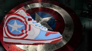 new concept 50f3f 8edc3 Superhero-Shoes-captain-america-nike-dunk-high-custom